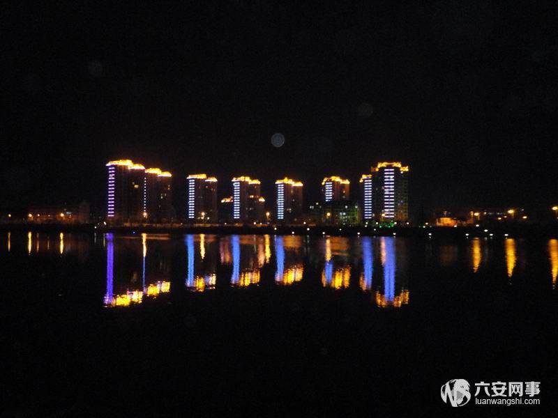 美丽的六安月亮岛夜景