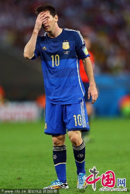 德国队勇夺世界杯 梅西表情失落