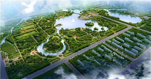 洪溢河生态景观区规划鸟瞰图